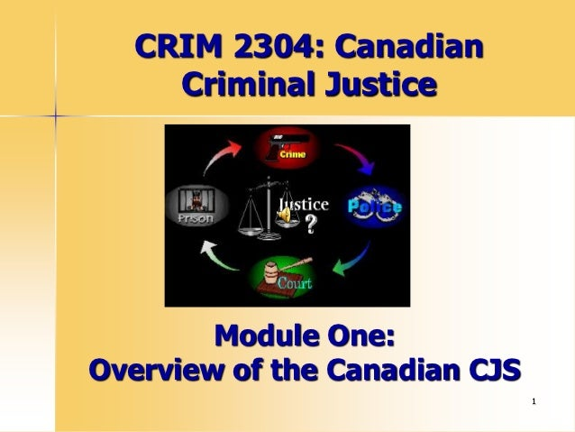 CRIM 2304: Canadian    Criminal Justice        Module One:Overview of the Canadian CJS                               1