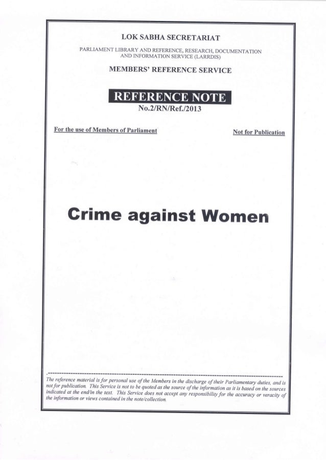 CONTENTS Page No. 1. Introduction 1 2. Meaning of Crime/Violence against Women 1 3. Constitutional and Legal Provisions fo...