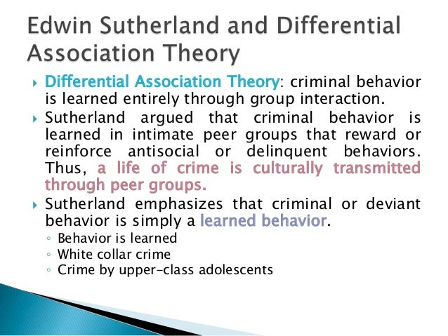 differential association theory Social deviance—any behavior that violates a cultural norm—can involve something as major as crime or as minor as consistently and deliberately w.
