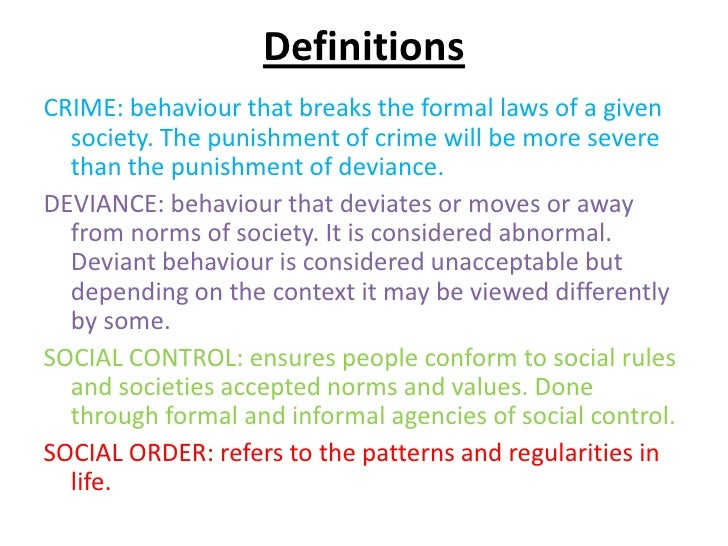 Difference between crime and deviance essay