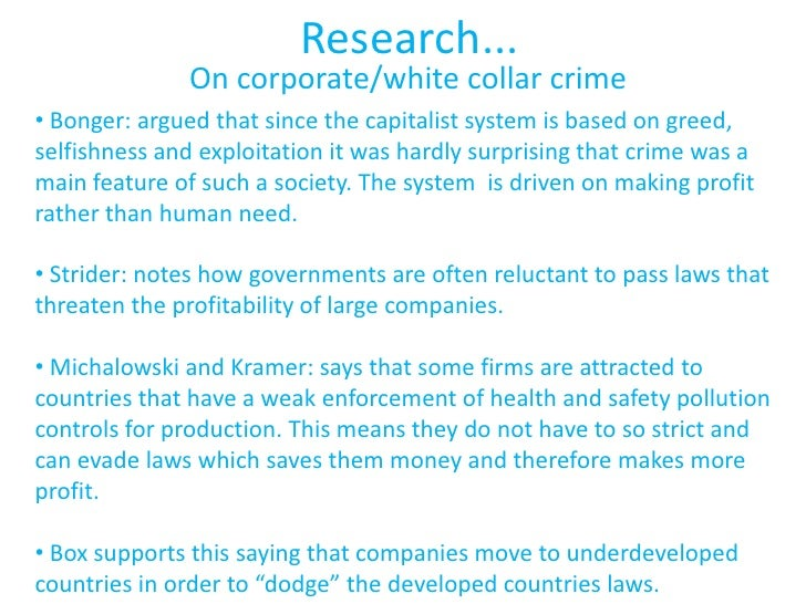 crime and deviance 4 research on corporate white collar crime•