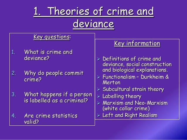 theories of crime and deviance essay Compare and contrast the two main sociological theories of crime and deviance deviance and crime are wide-ranging terms used by sociologists to refer to behavior that varies, in some way, from a social norm.