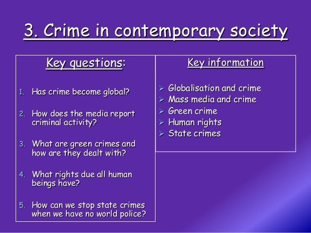 Globalisation               Transnational crime            Risk consciousness                               Greater commun...
