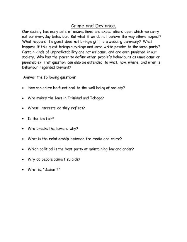 Crime and deviance worksheet quest – Sociology Worksheets