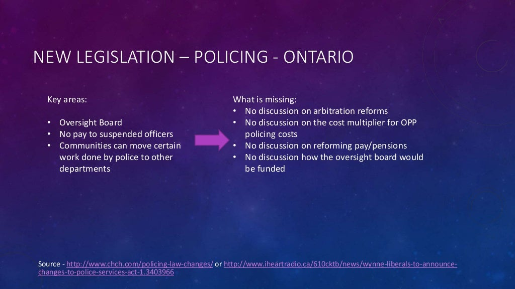 NEW LEGISLATION – POLICING - ONTARIO Source - http://www.chch.com/policing-law-changes/ or http://www.iheartradio.ca/610ck...