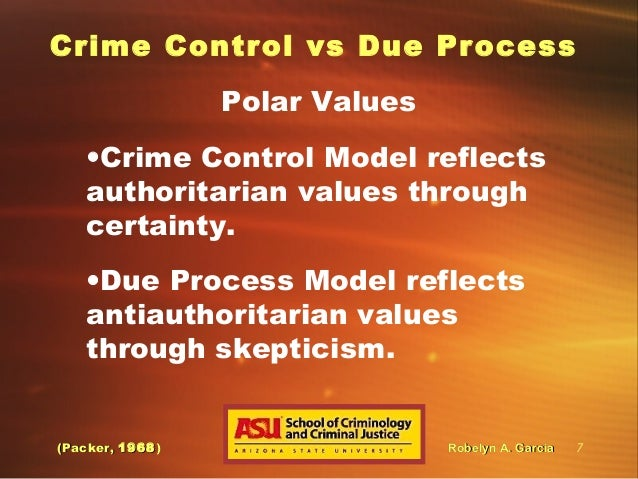 crime control The criminal justice system in the united state has traditionally operated under two fundamentally different theories one theory is the crime control model.