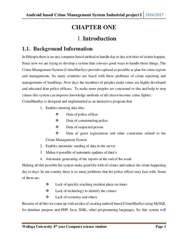 Android based crime managements syetem final year pdf