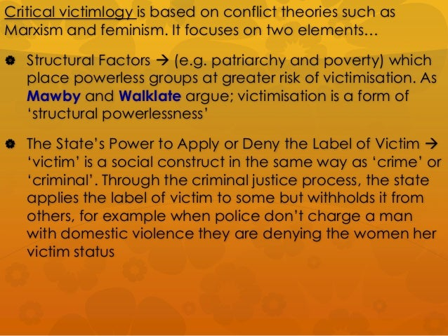 von hentig s theory of victimization Von hentig's theory of victimization (3 categories) stephen schafer's functional responsibility wolfgang's study of homicide karmen's theory of victimization.