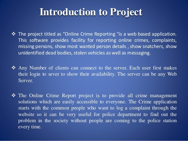 Project Report On Online Crime Management Application