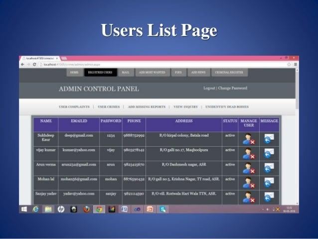 crime management system project report pdf