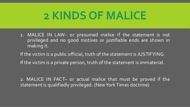 what is malice in law