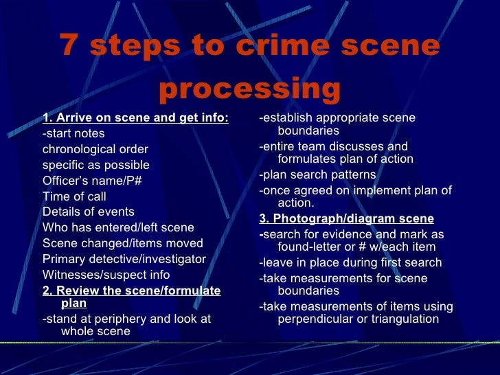processing a crime scene essay The size of a crime scene can vary greatly and the police must be prepared to quickly determine its boundaries this task is not as easy as it seems a crime scene may be a single room, an.