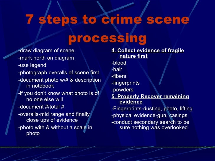 the importance of crime scene processing in solving the case Use of afis for linking scenes of crime  timely and useful product of logically processing forensic case  the crime scene investigator who explored two.