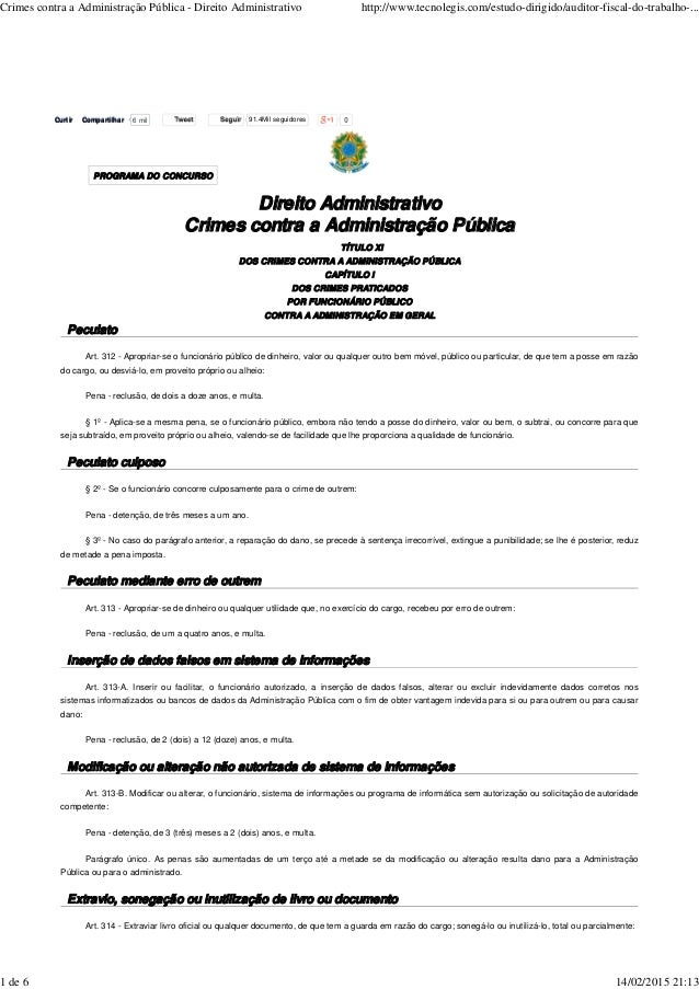 Direito Administrativo Crimes contra a Administração Pública TÍTULO XI DOS CRIMES CONTRA A ADMINISTRAÇÃO PÚBLICA CAPÍTULO ...