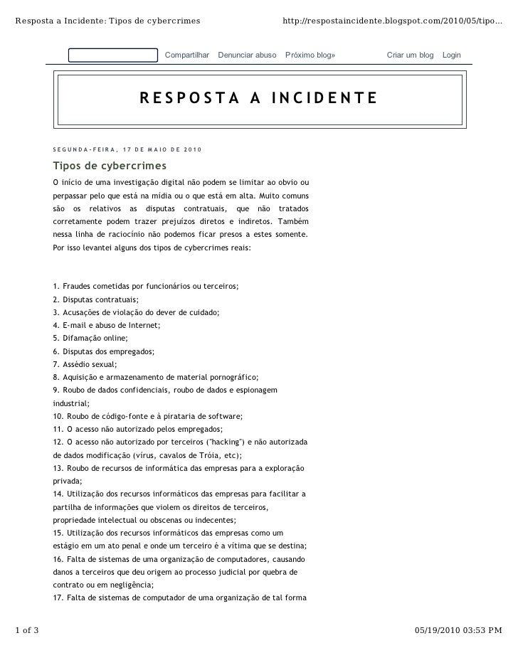 Resposta a Incidente: Tipos de cybercrimes                                    http://respostaincidente.blogspot.com/2010/0...