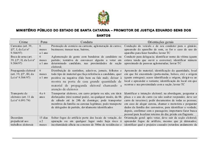 MINISTÉRIO PÚBLICO DO ESTADO DE SANTA CATARINA – PROMOTOR DE JUSTIÇA EDUARDO SENS DOS                                     ...