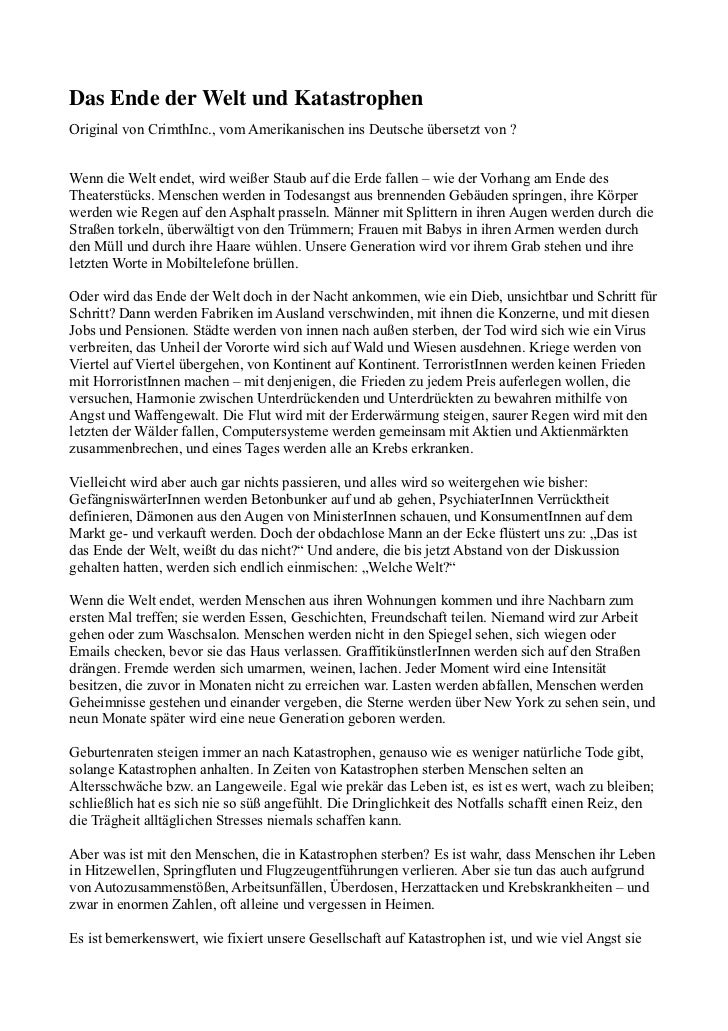 DasEndederWeltundKatastrophenOriginal von CrimthInc., vom Amerikanischen ins Deutsche übersetzt von ?Wenn die Welt en...