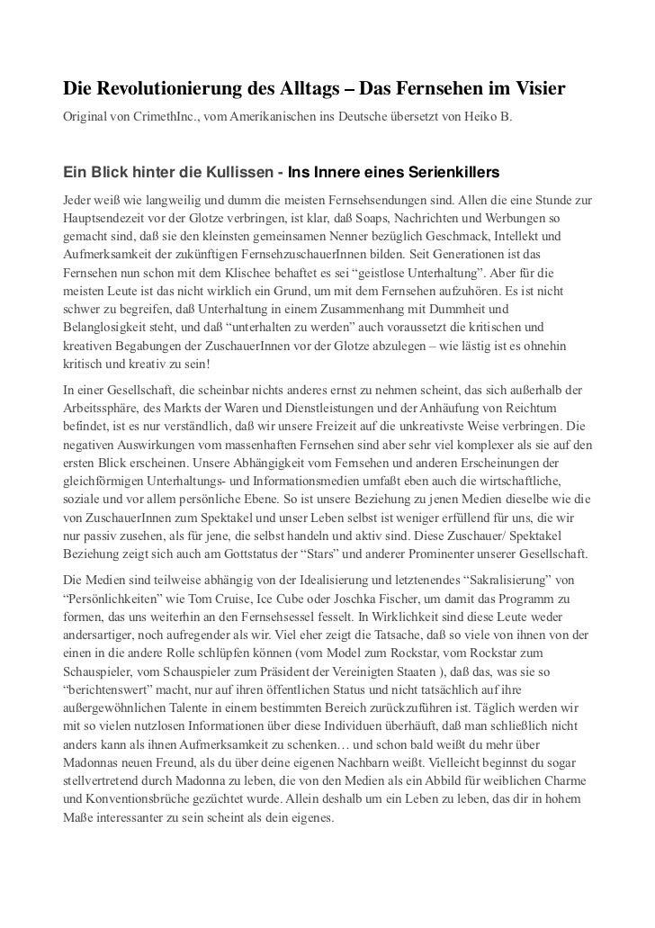DieRevolutionierungdesAlltags–DasFernsehenimVisierOriginal von CrimethInc., vom Amerikanischen ins Deutsche überse...