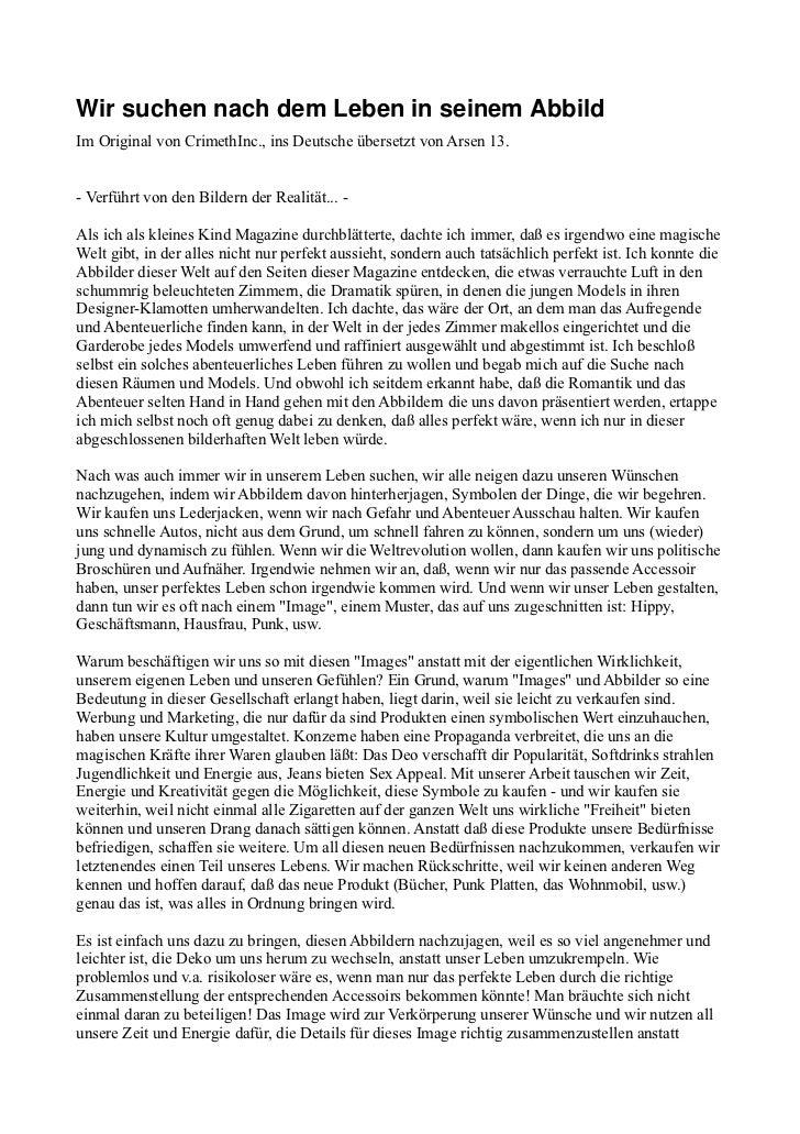 WirsuchennachdemLebeninseinemAbbildIm Original von CrimethInc., ins Deutsche übersetzt von Arsen 13.- Verführt von ...
