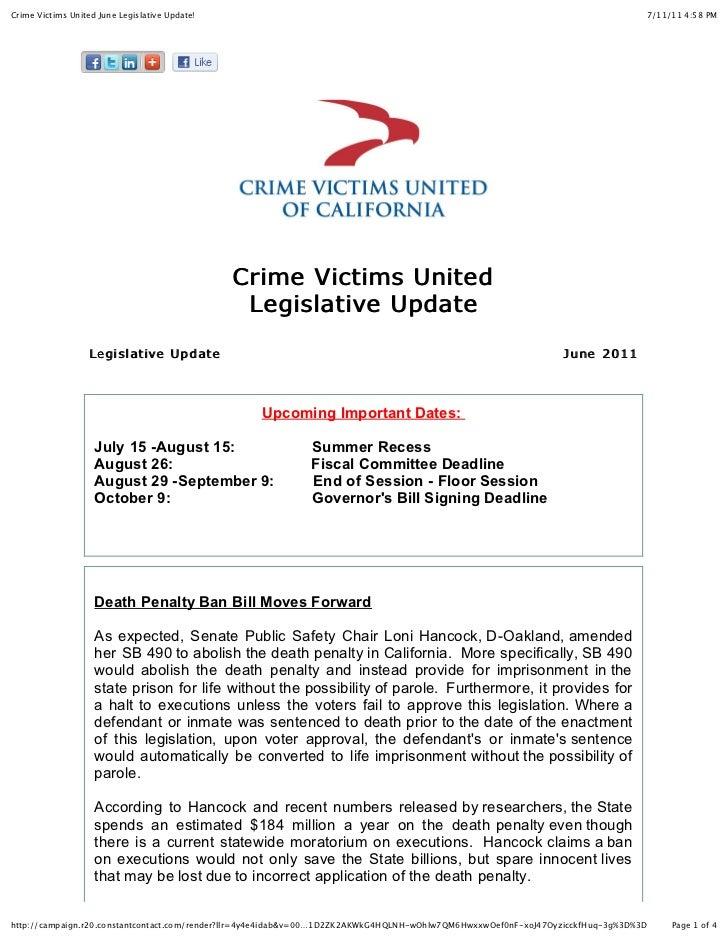 Crime Victims United June Legislative Update!                                                                             ...