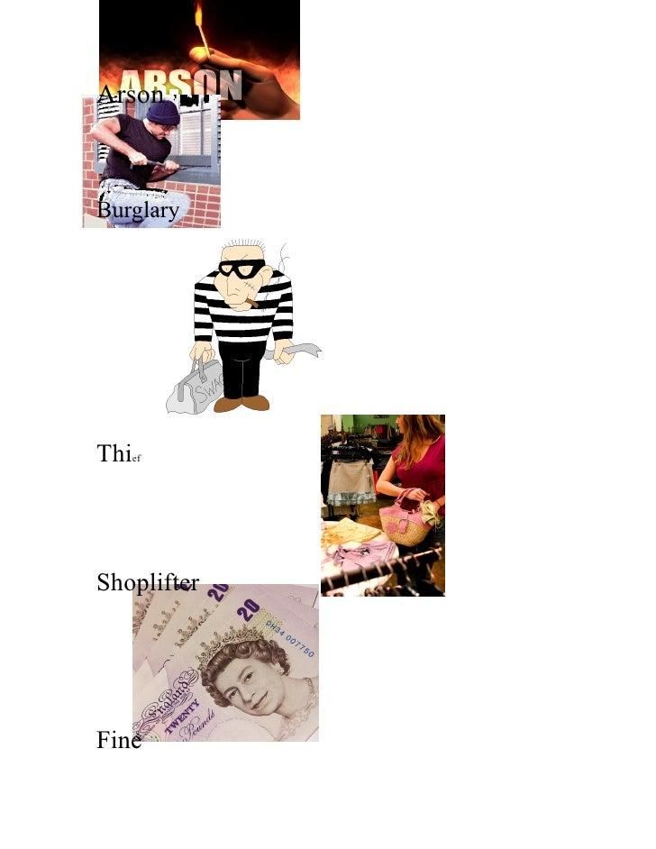 Arson    Burglary     Thief    Shoplifter     Fine