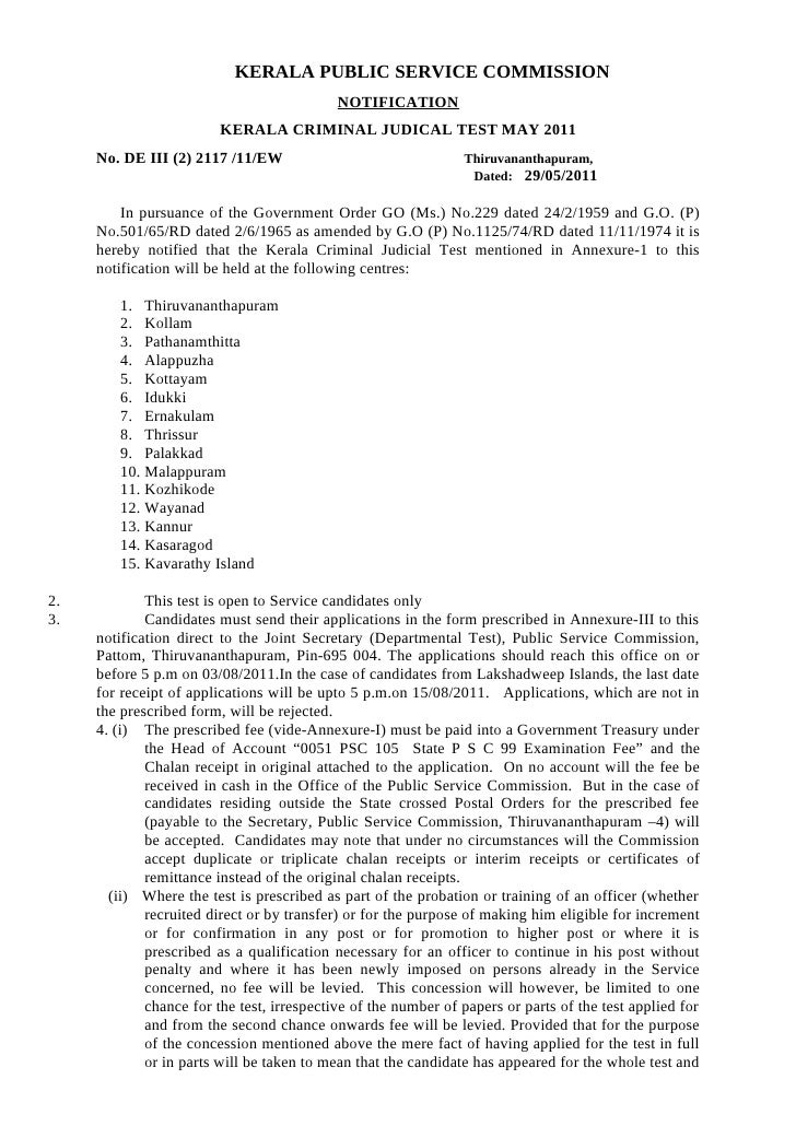 KERALA PUBLIC SERVICE COMMISSION                                            NOTIFICATION                         KERALA CR...