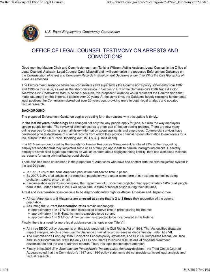 Criminal Background Check EEOC Office of Legal Counsel Testimony