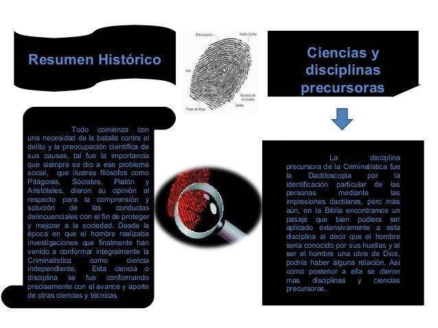 Resumen Histórico  Todo comienza con  una necesidad de la batalla contra el  delito y la preocupación científica de  sus c...