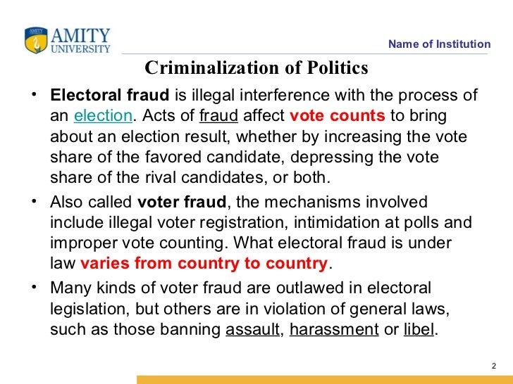 essay on criminalisation Define democracy nexus between politics and crime misuse of political power money and muscle power should be curtailed from politics criminalisation of politics and the main reasons behind it.