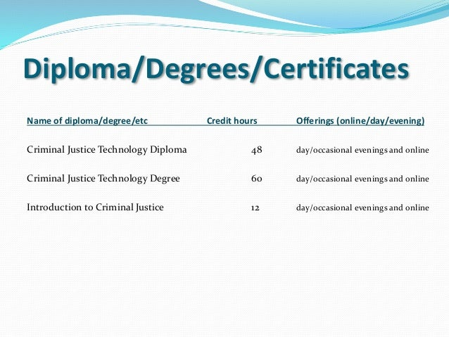 criminal technology Criminal justice technology specialist technical certificate students gain skills and competencies for entry level criminal justice professions.