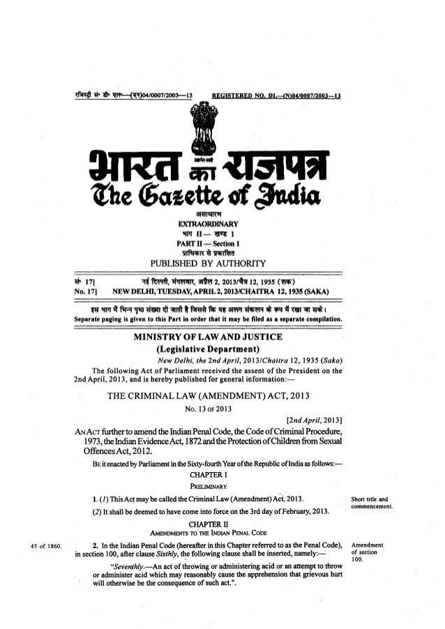 Criminal Law (amendment) Act 2013