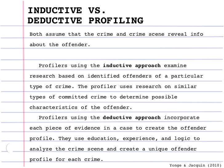 Criminal profiling – Inductive Vs Deductive Reasoning Worksheet