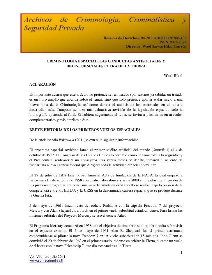 CRIMINOLOGÍA ESPACIAL. LAS CONDUCTAS ANTISOCIALES Y                   DELINCUENCIALES FUERA DE LA TIERRA                  ...