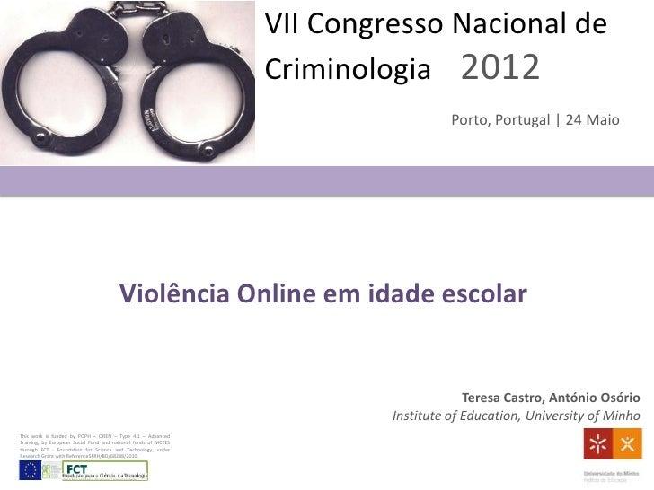 VII Congresso Nacional de                                                                Criminologia 2012                ...