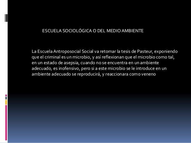 La EscuelaAntroposocial Social va retomar la tesis de Pasteur, exponiendo que el criminal es un microbio, y así reflexiona...