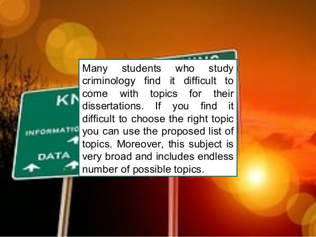 Criminology dissertation questions