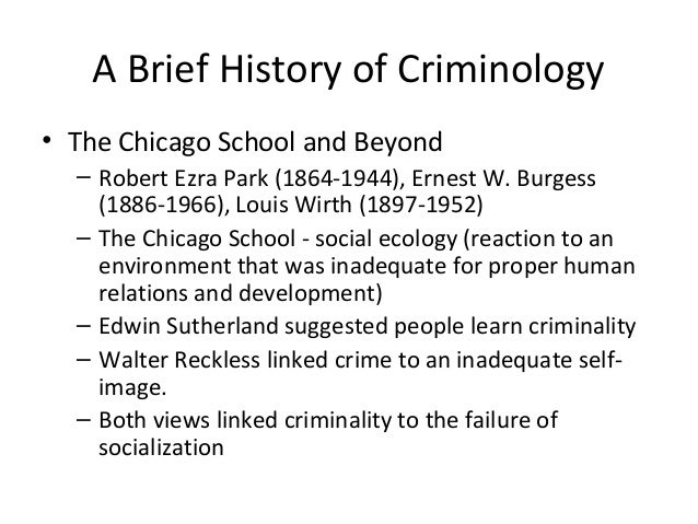 the chicago school of criminology Sociology essays - chicago school  the dominant theories in criminology preceding the chicago school were classical criminological and positivist theories of.