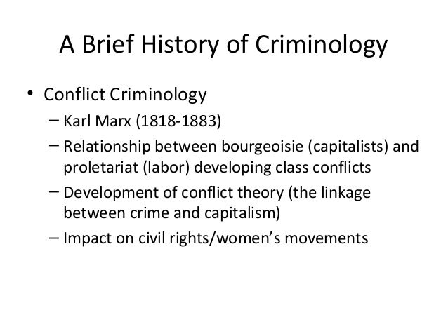 history of criminological thought To help understand this we will offer a historical overview of the development of criminological thought up until  bowling, b (2006) a brief history of criminology.