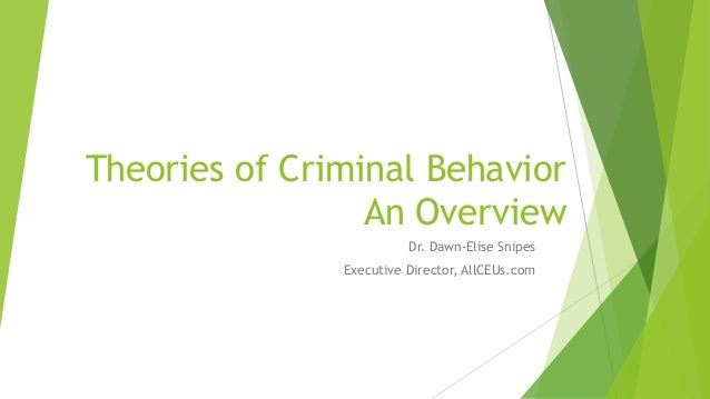Theories of Criminal Behavior and Rehabilitation Overview Slide 2