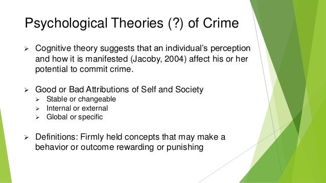 theories of criminal behavior Learning theories have been influential in understanding criminal behavior a  theory of differential association was posited criminal behavior.