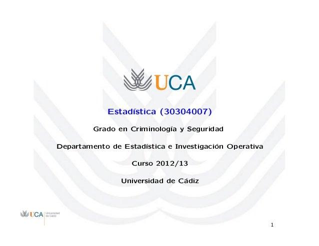 Estad´ıstica (30304007) Grado en Criminolog´ıa y Seguridad Departamento de Estad´ıstica e Investigaci´on Operativa Curso 2...