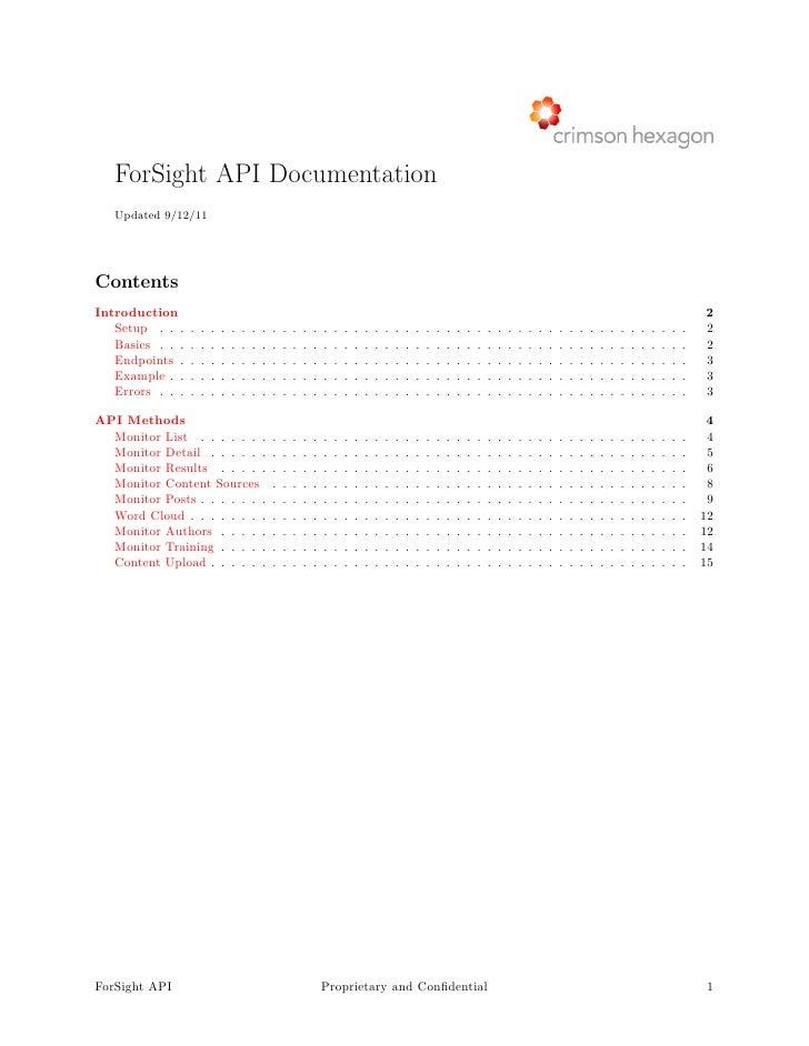 ForSight API Documentation   Updated 9/12/11ContentsIntroduction                                                          ...