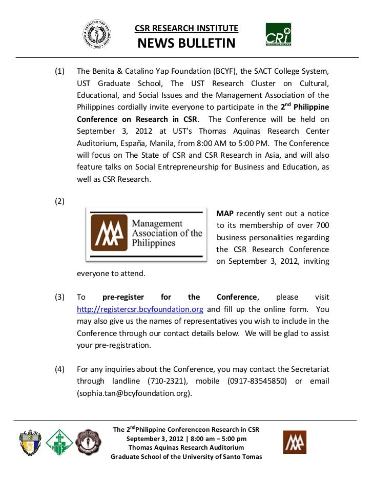 CSR RESEARCH INSTITUTE                       NEWS BULLETIN(1)   The Benita & Catalino Yap Foundation (BCYF), the SACT Coll...