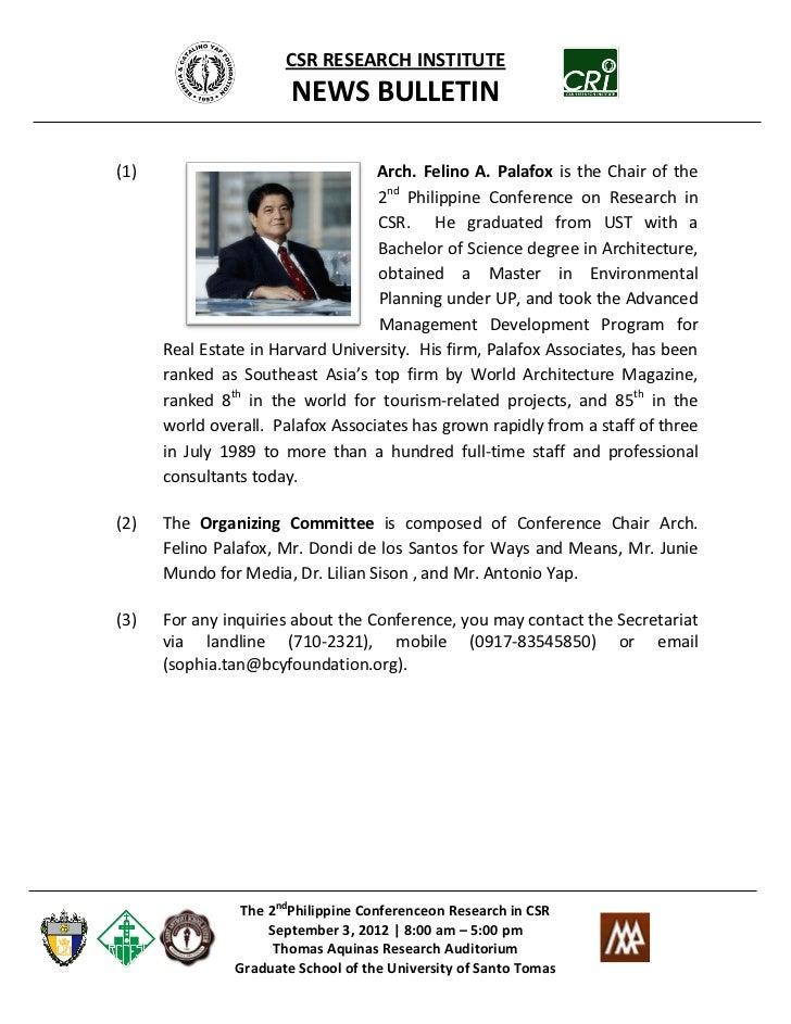 CSR RESEARCH INSTITUTE                       NEWS BULLETIN(1)                                Arch. Felino A. Palafox is th...