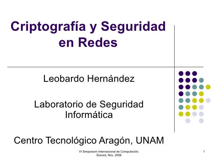 Criptografía y Seguridad en Redes Leobardo Hernández Laboratorio de Seguridad Informática Centro Tecnológico Aragón, UNAM ...