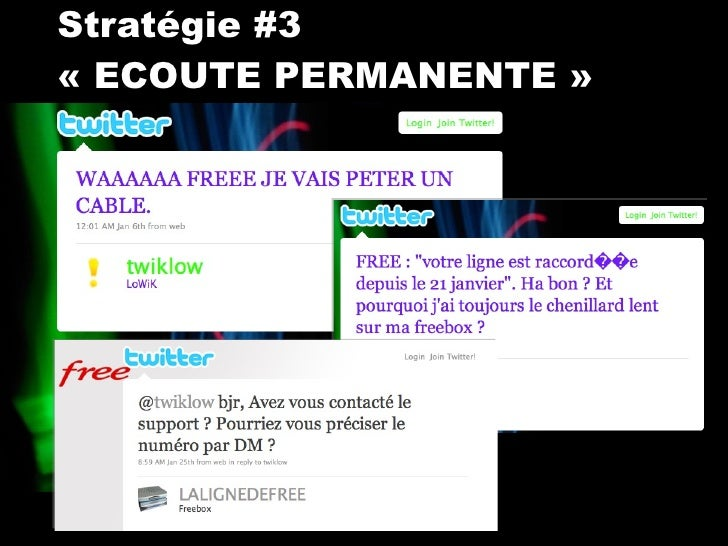 Stratégie #3  «ECOUTE PERMANENTE»