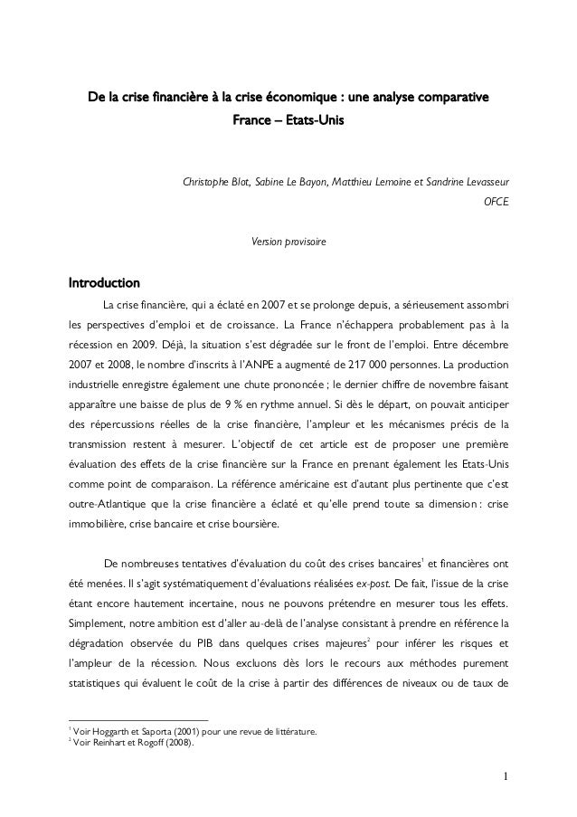 De la crise financière à la crise économique : une analyse comparative                                            France –...