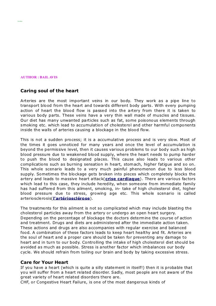 AUTHOR : BAIL AVISCaring soul of the heartArteries are the most important veins in our body. They work as a pipe line totr...
