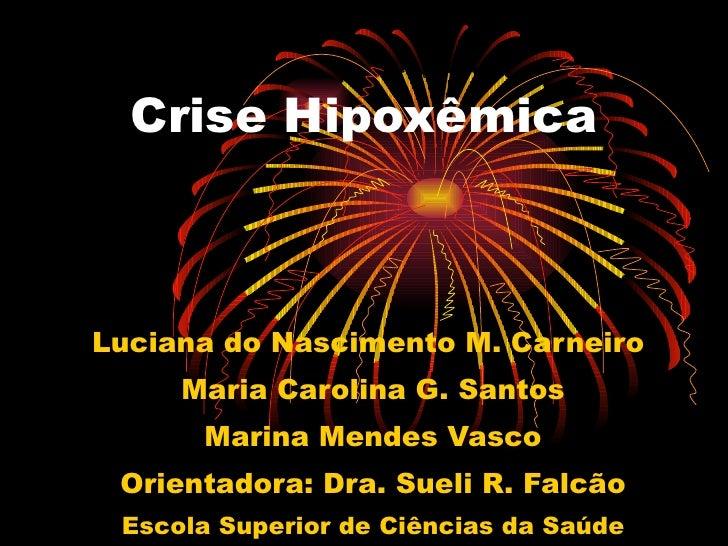 Crise Hipoxêmica Luciana do Nascimento M. Carneiro  Maria Carolina G. Santos Marina Mendes Vasco Orientadora: Dra. Sueli R...