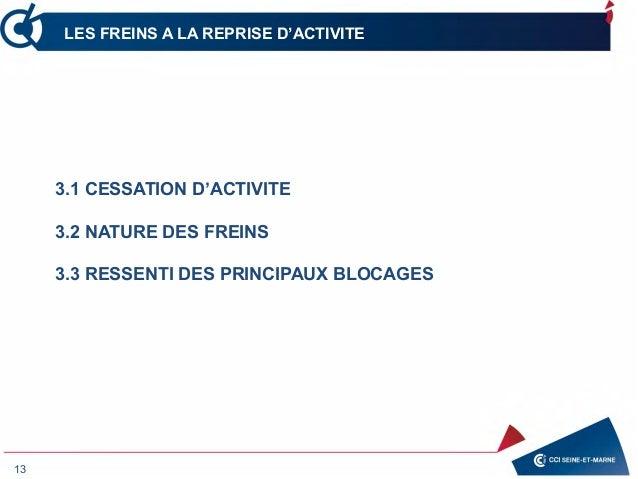 13 LES FREINS A LA REPRISE D'ACTIVITE 3.1 CESSATION D'ACTIVITE 3.2 NATURE DES FREINS 3.3 RESSENTI DES PRINCIPAUX BLOCAGES